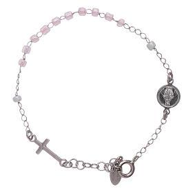 AMEN bracelets: AMEN 925 sterling silver junior rosary bracelet with pink crystals