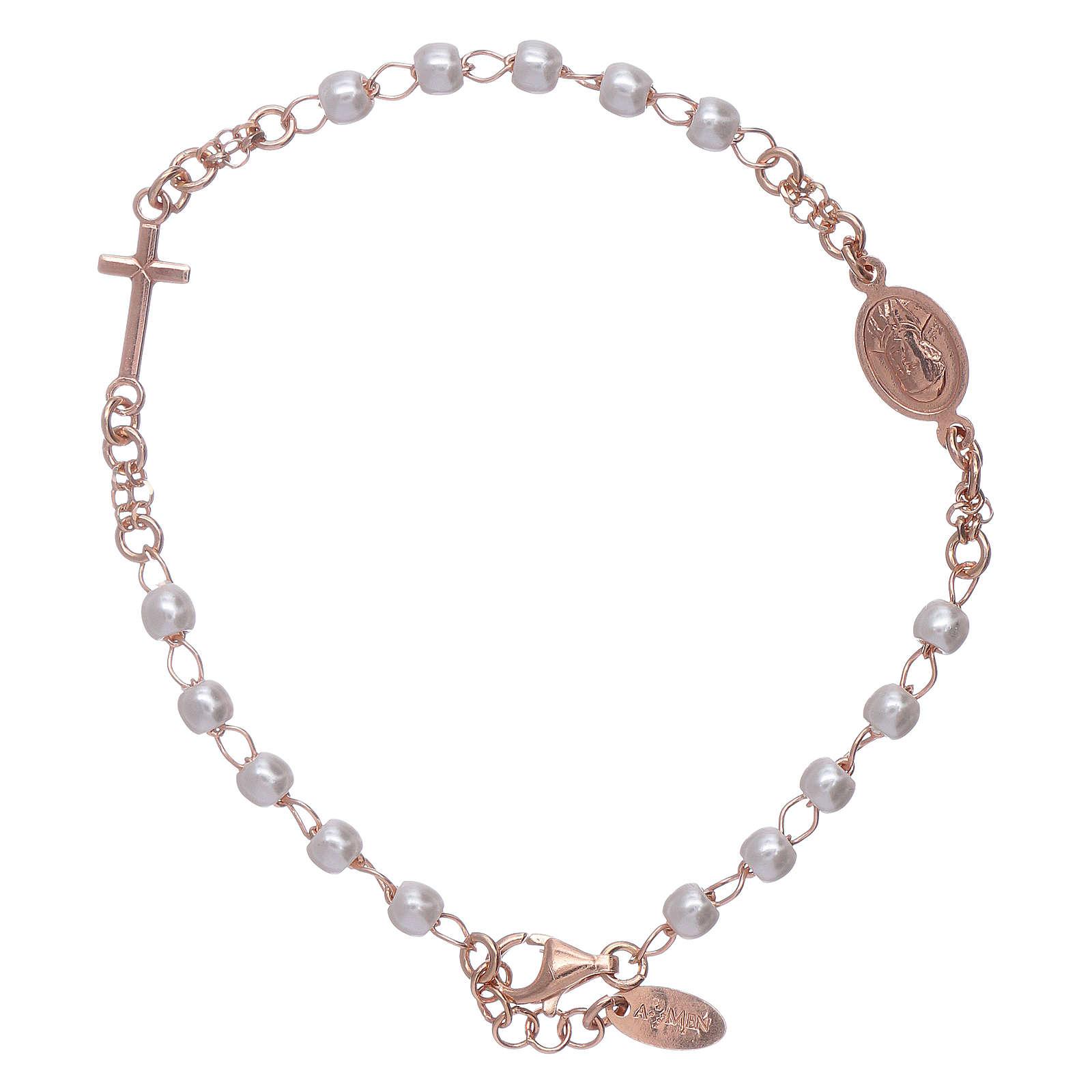 Bracciale rosario perle arg 925 rosè 4