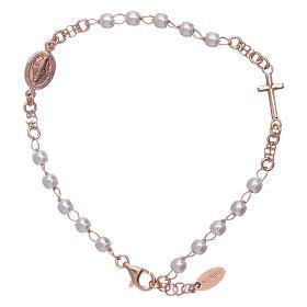 Bracciale rosario perle arg 925 rosè s1