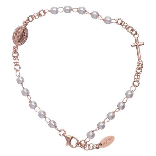 Bracciale rosario perle arg 925 rosè 1
