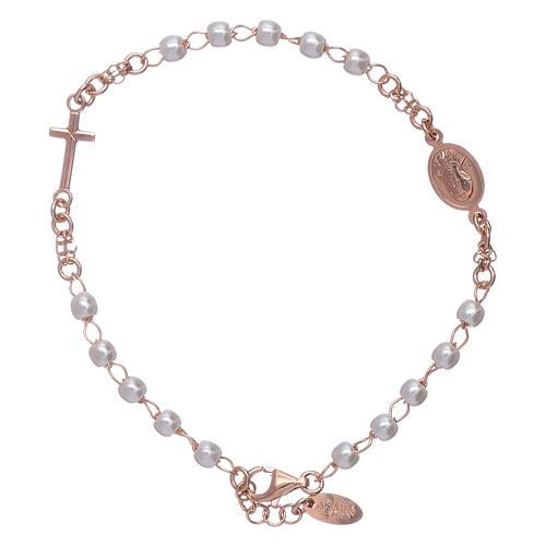 Bracciale rosario perle arg 925 rosè 2