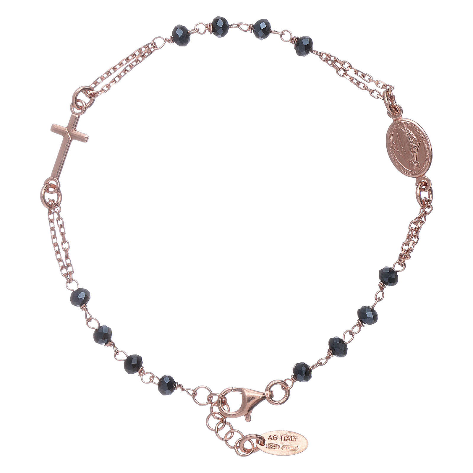 Bracciale rosario perle arg 925 brunito e cristalli 4