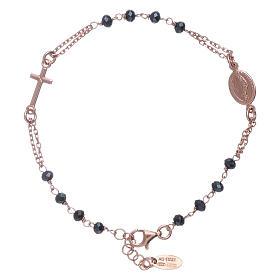 Bracciale rosario perle arg 925 brunito e cristalli s2