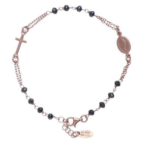 Bracciale rosario perle arg 925 brunito e cristalli 2