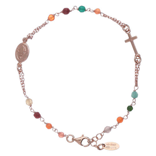 Amen 925 Sterling Silver Rosary Bracelet With Coloured Agate