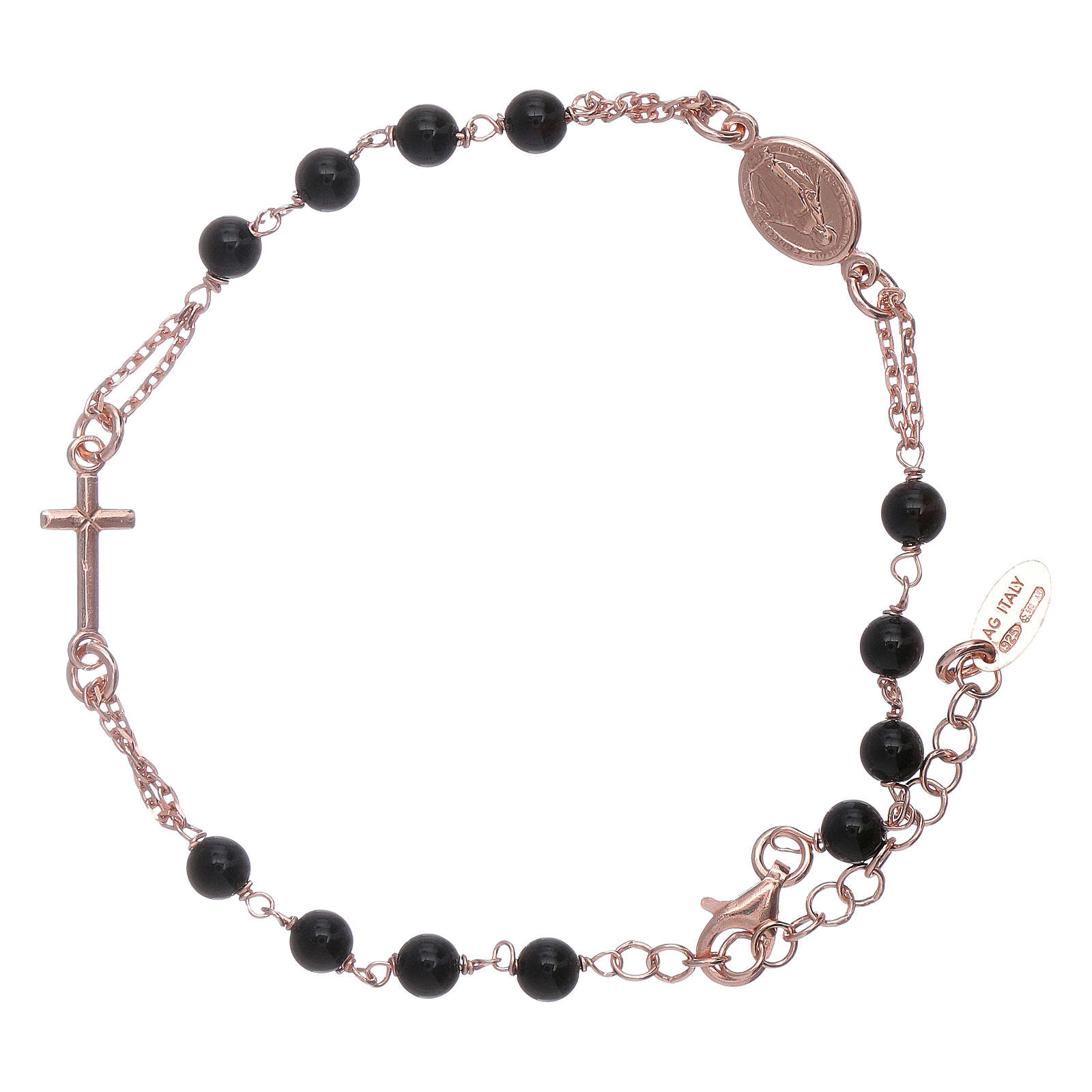 Bracciale arg 925 rosario AMEN perle agata nere 4