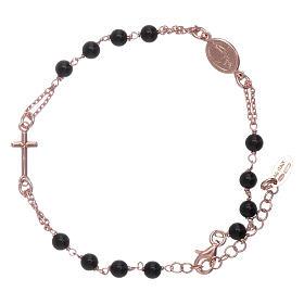 Bracciale arg 925 rosario AMEN perle agata nere s1