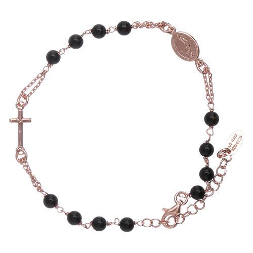 Bracciale arg 925 rosario AMEN perle agata nere 1