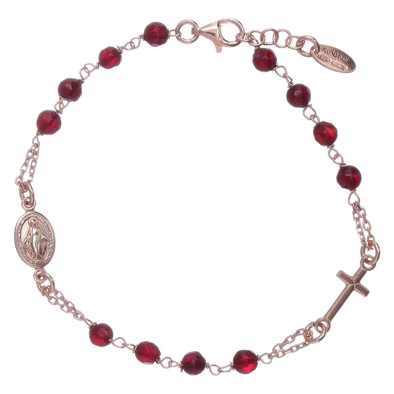 Bracelet chapelet argent 925 AMEN perles agate rubis 4