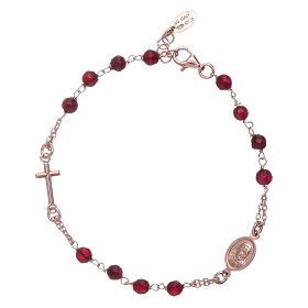 Bracelet chapelet argent 925 AMEN perles agate rubis s2