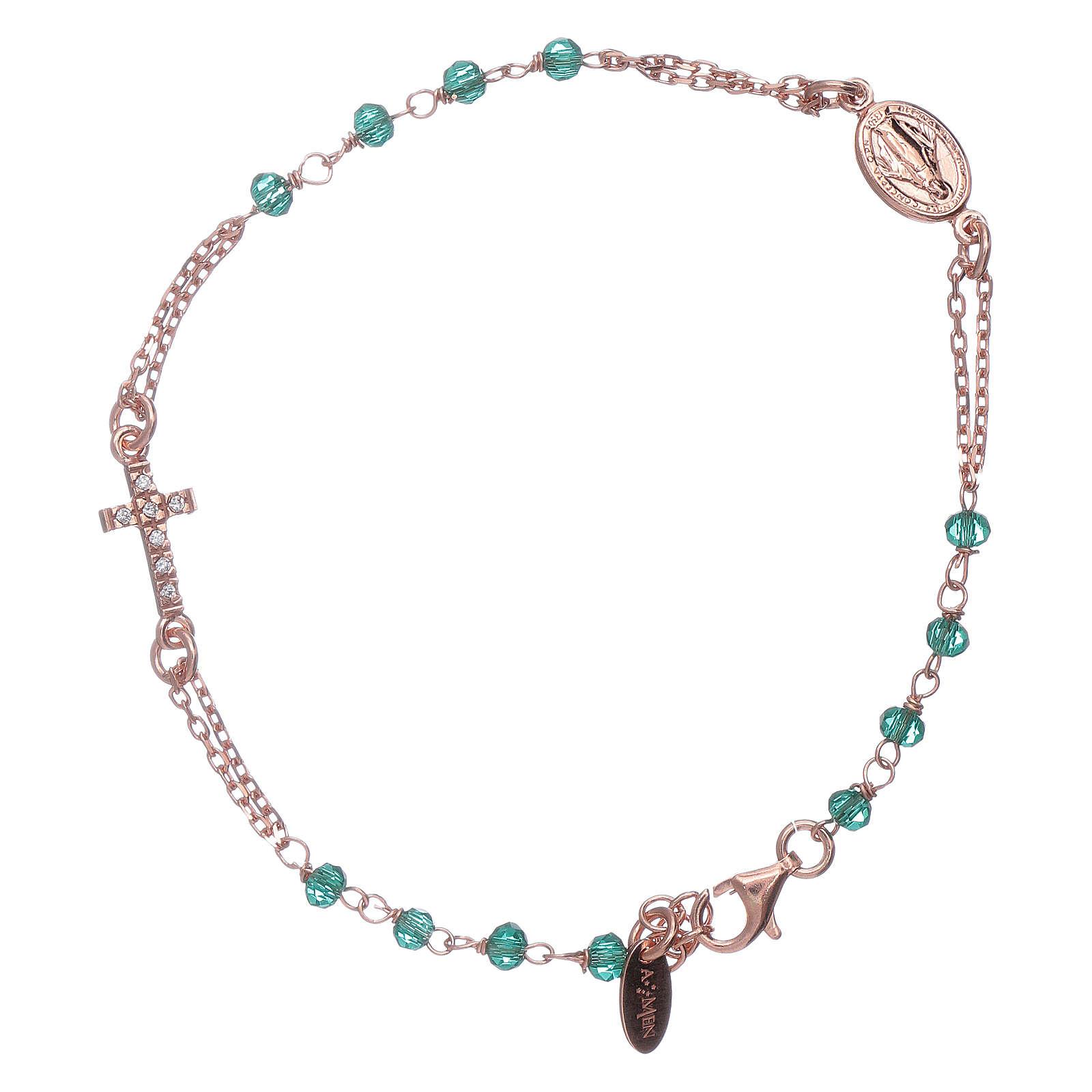 Bracelet chapelet argent 925 AMEN croix pavé et cristaux 4