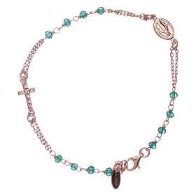 Bracelet chapelet argent 925 AMEN croix pavé et cristaux s1