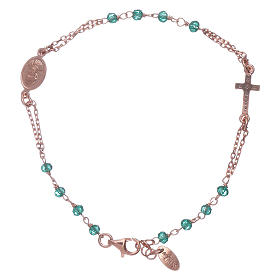 Bracelet chapelet argent 925 AMEN croix pavé et cristaux s2