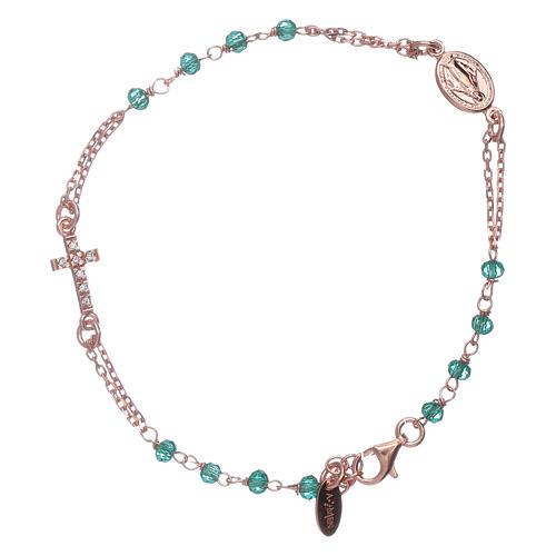 Bracelet chapelet argent 925 AMEN croix pavé et cristaux 1
