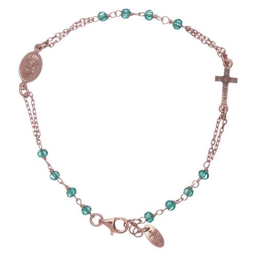 Bracelet chapelet argent 925 AMEN croix pavé et cristaux 2