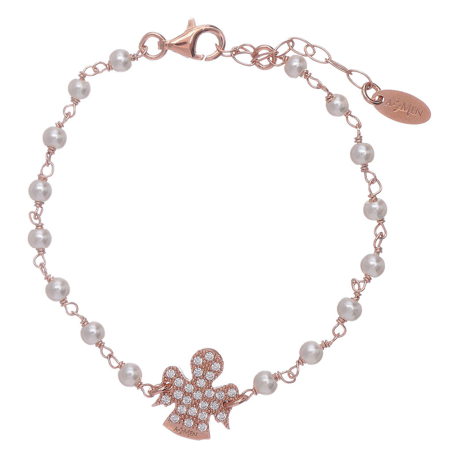 Bracciale angioletto rosè zirconato AMEN arg 925 e perline 4