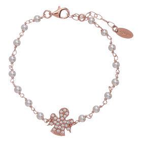 Bracciale angioletto rosè zirconato AMEN arg 925 e perline s1