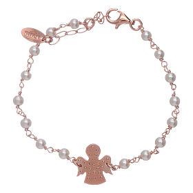 Bracciale angioletto rosè zirconato AMEN arg 925 e perline s2