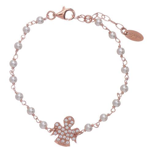 Bracciale angioletto rosè zirconato AMEN arg 925 e perline 1