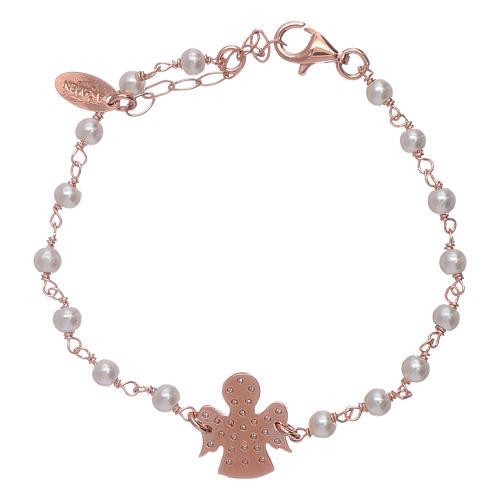 Bracciale angioletto rosè zirconato AMEN arg 925 e perline 2