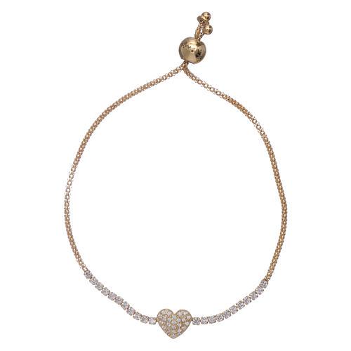 Bracciale arg 925 dorato AMEN cuore zirconi bianchi 1