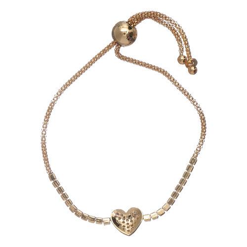 Bracciale arg 925 dorato AMEN cuore zirconi bianchi 2