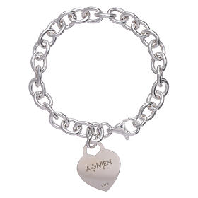 AMEN 925 sterling silver bracelet with a pendant heart s2