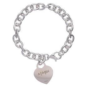 Pulsera plata 925 corazón colgante AMEN s2