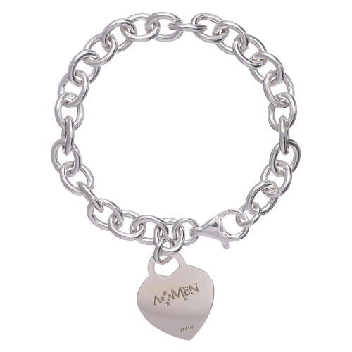 AMEN 925 sterling silver bracelet with a pendant heart 2
