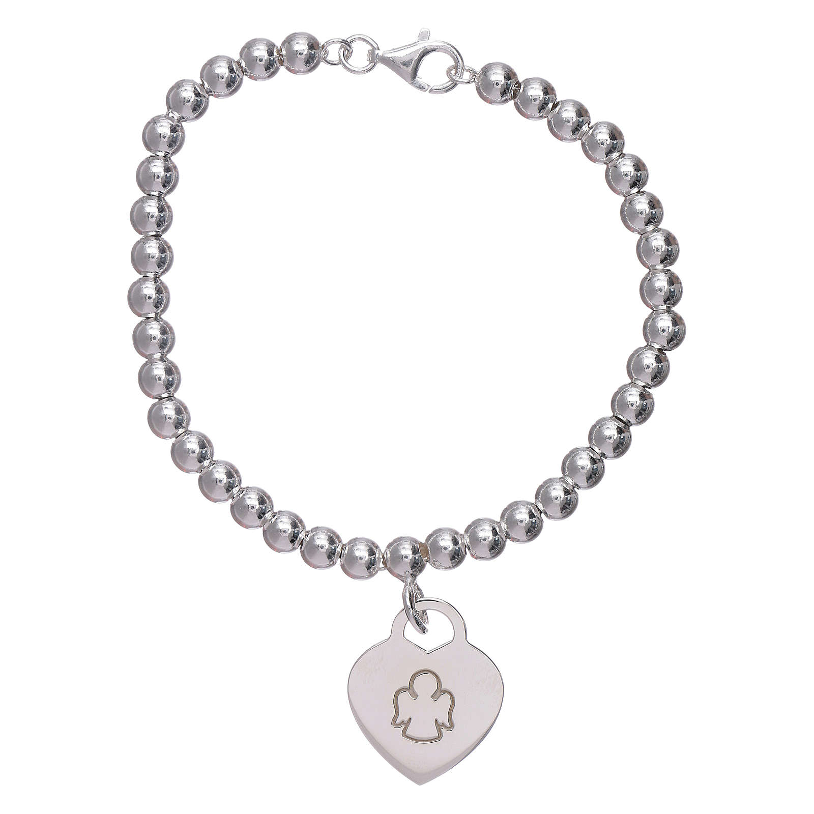 AMEN 925 sterling silver bracelet finished in rhodium with a pendant heart 4