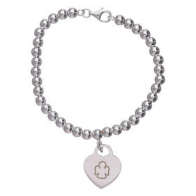 AMEN 925 sterling silver bracelet finished in rhodium with a pendant heart s1