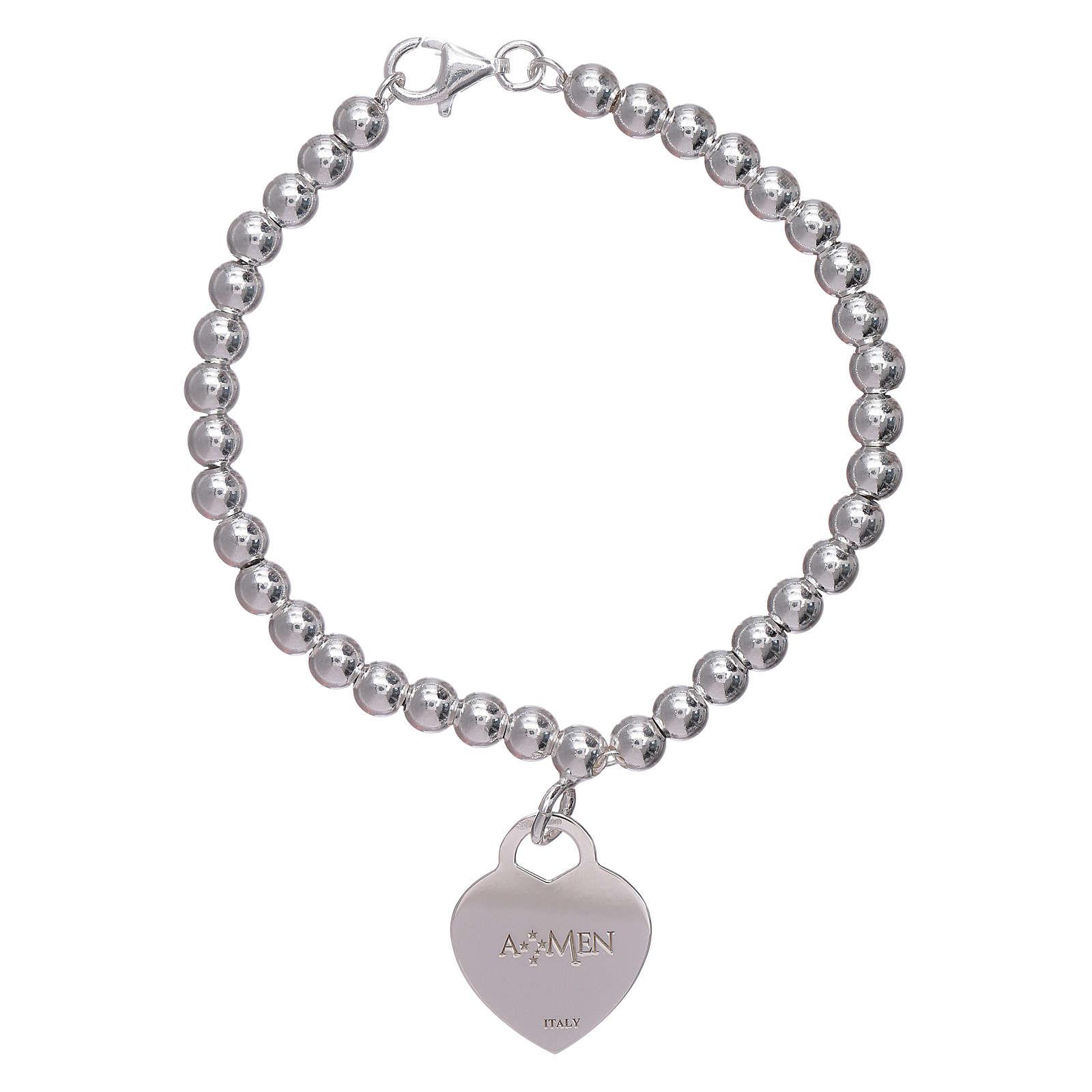 c325c5f6884 Bracelet coeur pendentif AMEN argent 925 rhodié 4