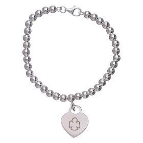 Pulseira coração pingente AMEN prata 925 radiada s1