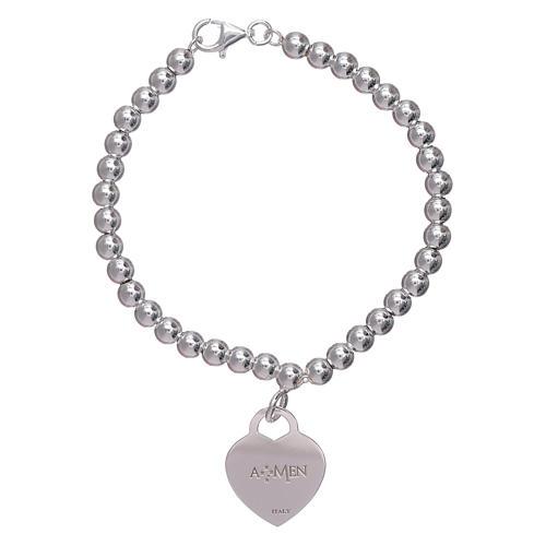 Pulseira coração pingente AMEN prata 925 radiada 2