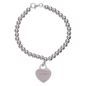 AMEN 925 sterling silver bracelet finished in rhodium with a pendant heart s2