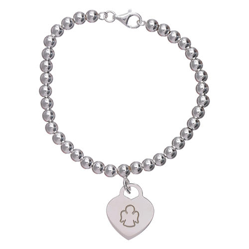 AMEN 925 sterling silver bracelet finished in rhodium with a pendant heart 1