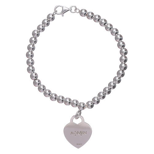 AMEN 925 sterling silver bracelet finished in rhodium with a pendant heart 2