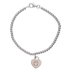 AMEN bracelets: AMEN 925 sterling silver bracelet finished in rhodium with a pendant heart