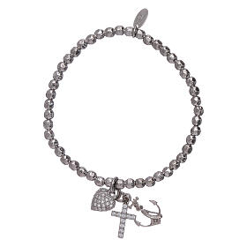 AMEN 925 sterling silver bracelet with 3 mm beads Faith, Hope and Charity s1