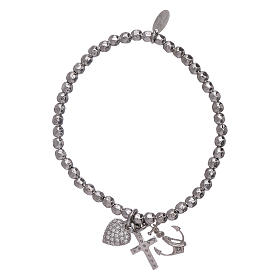 AMEN 925 sterling silver bracelet with 3 mm beads Faith, Hope and Charity s2