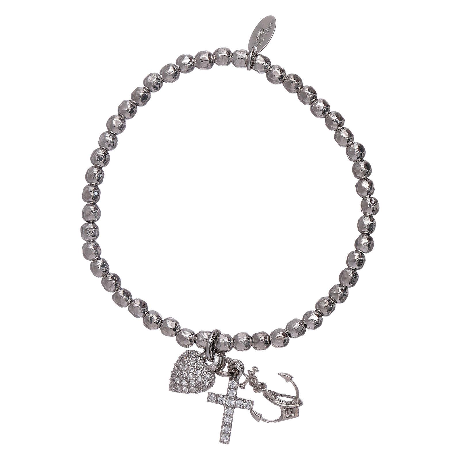 Bracelet perles 3 mm argent 925 Foi, Espoir et Charité AMEN 4