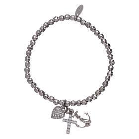 Bracelet perles 3 mm argent 925 Foi, Espoir et Charité AMEN s1