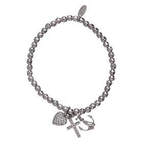 Bracelet perles 3 mm argent 925 Foi, Espoir et Charité AMEN s2