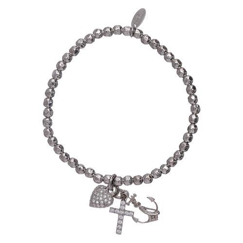 Bracelet perles 3 mm argent 925 Foi, Espoir et Charité AMEN 1