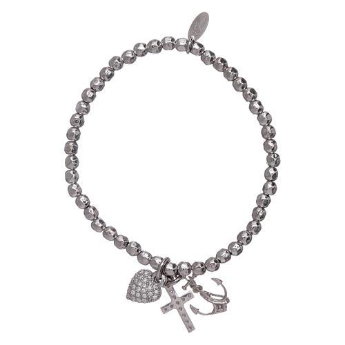 Bracelet perles 3 mm argent 925 Foi, Espoir et Charité AMEN 2