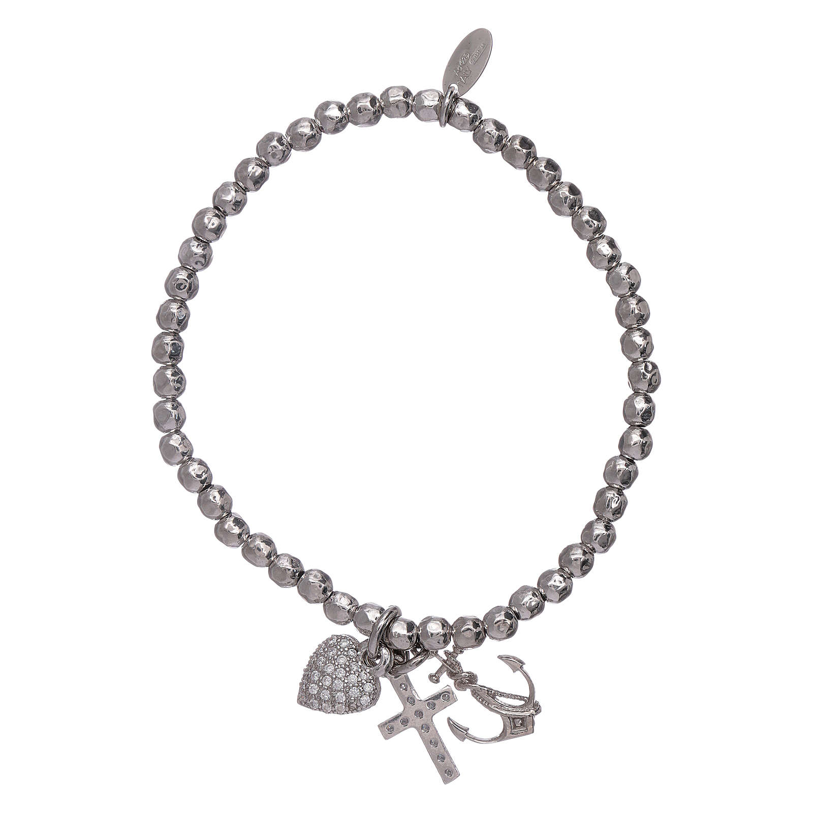 AMEN 925 sterling silver bracelet with 3 mm beads Faith, Hope and Charity 4