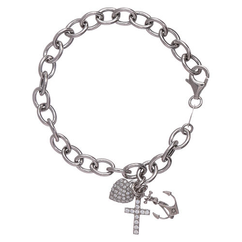 AMEN 925 sterling silver bracelet with zircons Faith, Hope and Charity 1