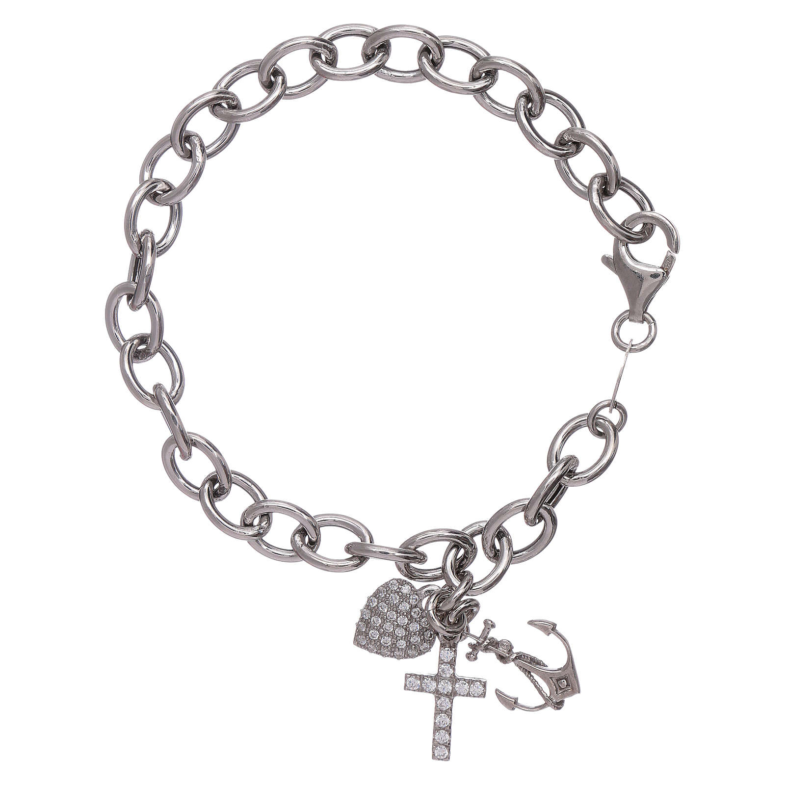 AMEN 925 sterling silver bracelet with zircons Faith, Hope and Charity 4