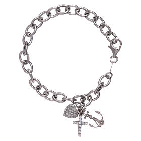 AMEN 925 sterling silver bracelet with zircons Faith, Hope and Charity s1