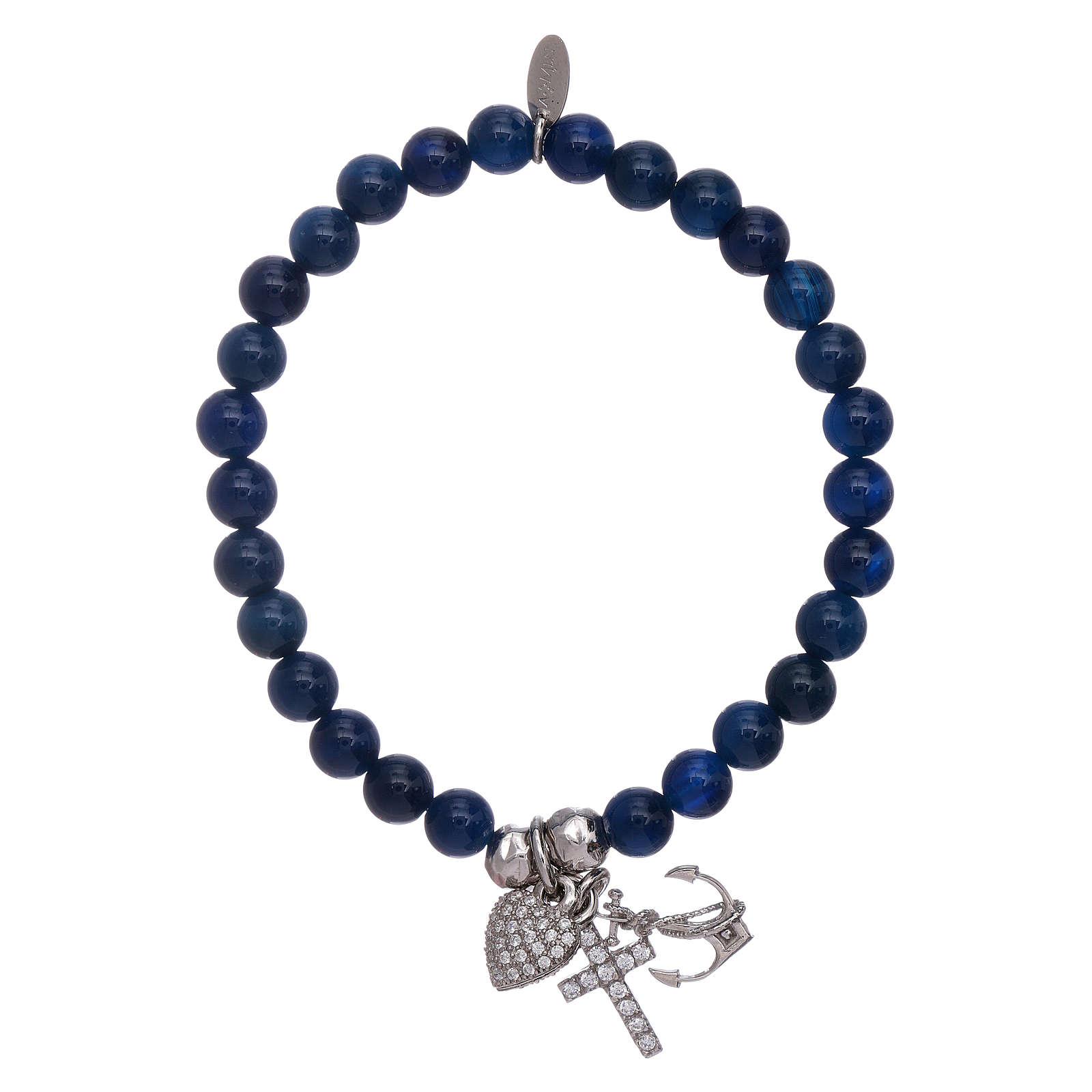 Bracciale agata AMEN blu 5 mm Fede, Speranza e Carità arg 925 4